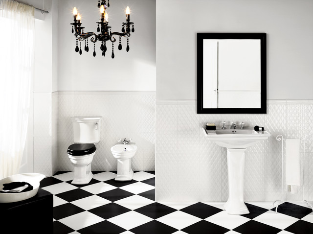 Black and white bathroom with black chandelier light fitting