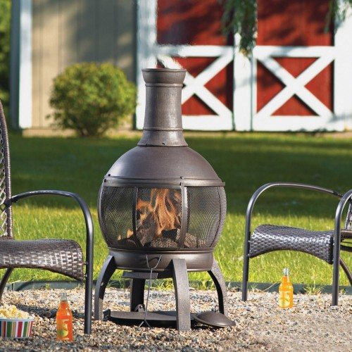 Living Accents Cast Iron Chimenea with Poker ... on Propane Fire Pit Ace Hardware id=24881