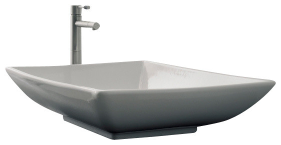 rectangular white ceramic vessel sink no 21625