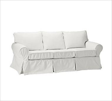 PB Basic Sleeper Sofa Slipcover Denim Warm White Traditional Slipcovers And Chair Covers