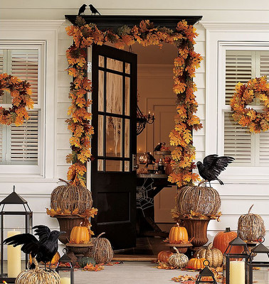 Halloween decorations start at your front door where you invite trick-or-treaters to visit