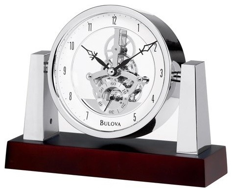 base cabinet largo desktop clock by bulova contemporary clocks by 10937