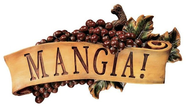 Italian Eat Mangia Tuscan Kitchen Grapes Wall Sculpture ... on Traditional Kitchen Wall Decor  id=21028