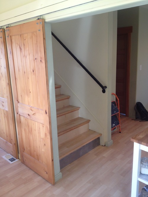 attic handle ideas - Adding a door at the bottom of this tricky stairway