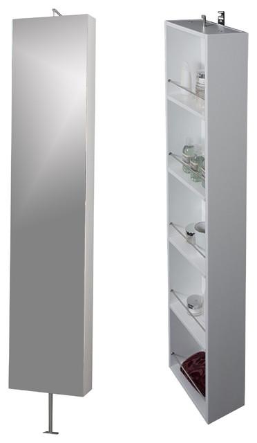 Due Rotating Mirror Shelf Cabinet Wenge White