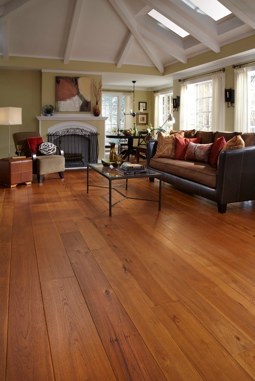 hickory flooring in bungalow living room