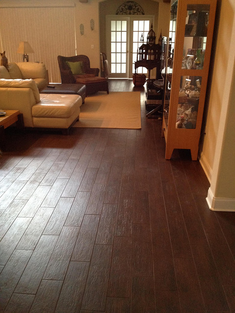 porcelain plank wood look tile installations tampa florida contemporary living room tampa