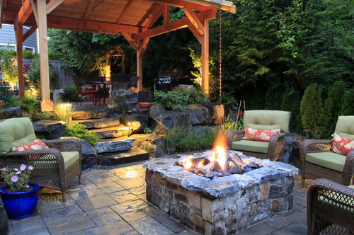 outdoor entertaining as the weather cools might mean using a fire pit