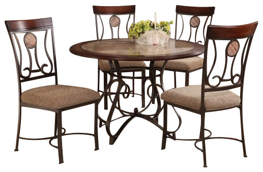 5-Piece Barrie Collection Round Faux Marble Top and Wood ...