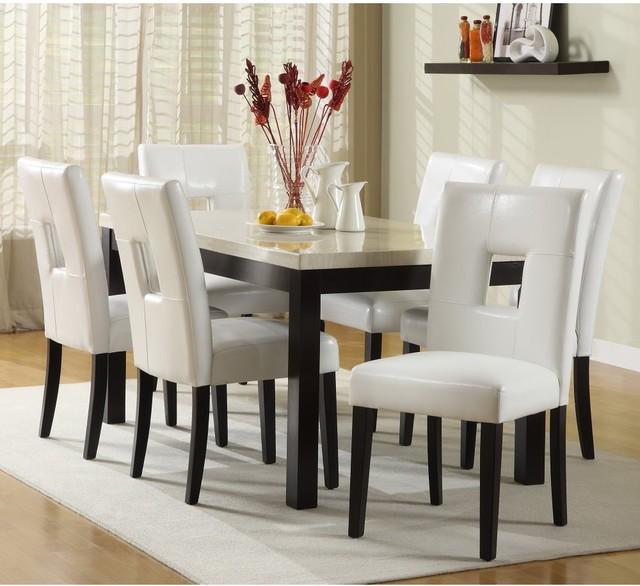 Archibald 7 piece White Dining Set - 60 in. - Modern ...