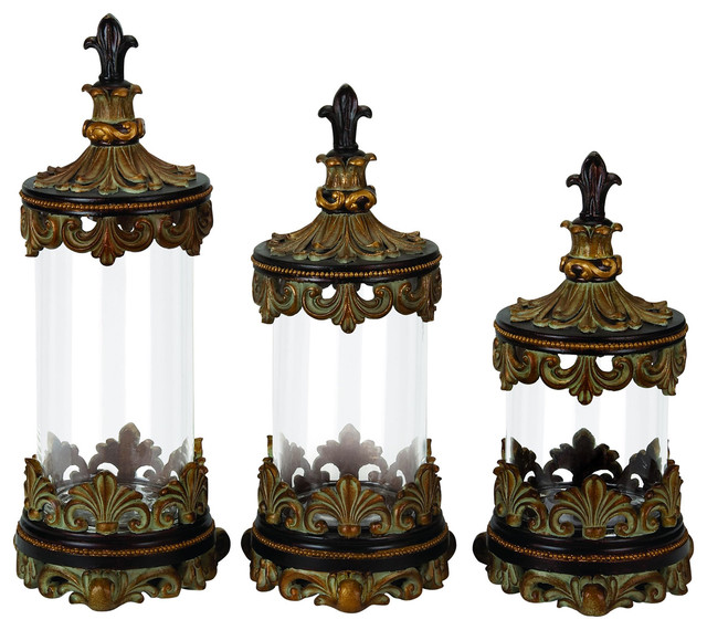 decorative kitchen canister sets urban designs fleur de lis 3 piece glass cylinder canister set antique gold kitchen 4592