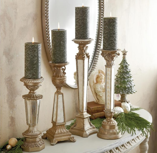 Gl Mirror Candle Holders