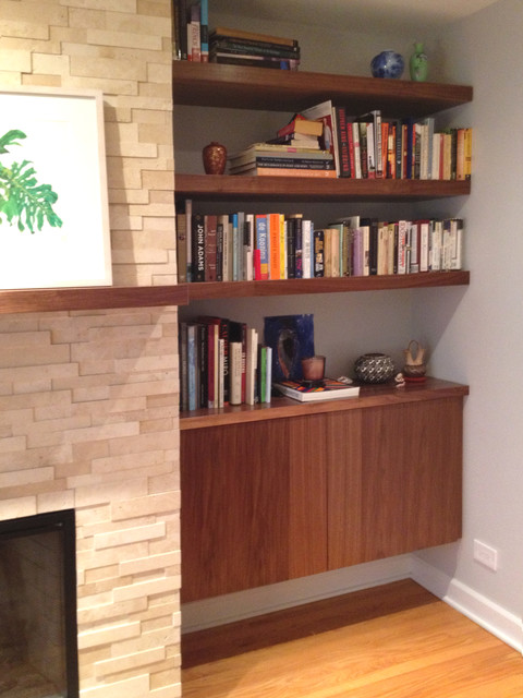 Built-in walnut wood shelves and cabinet - Modern - Living ...