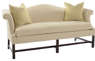 Camel Back Sofa: Formal Style With Rolled Arms And Curved/arched Back  Without Separate Back Cushions.