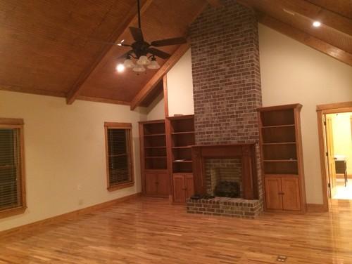 wood ceiling paint ideas - Warm Oak Trim vs Creamy White