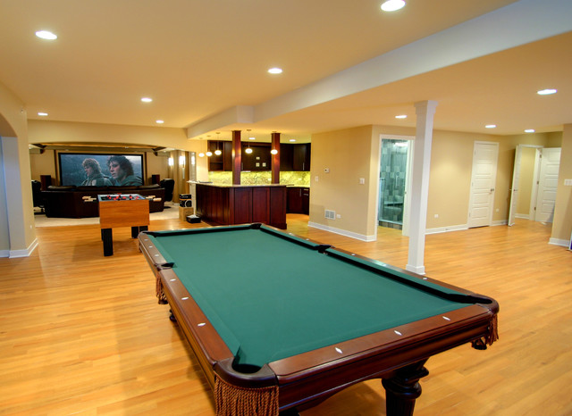garage attic storage ideas - Finished basement with game room kitchen and home theatre