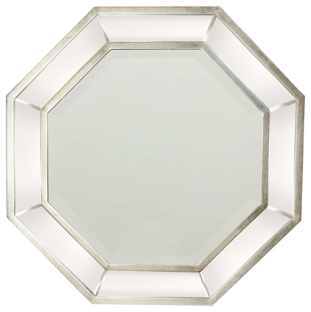 octagon bathroom mirror octagon mirror silver liner transitional wall mirrors 13837