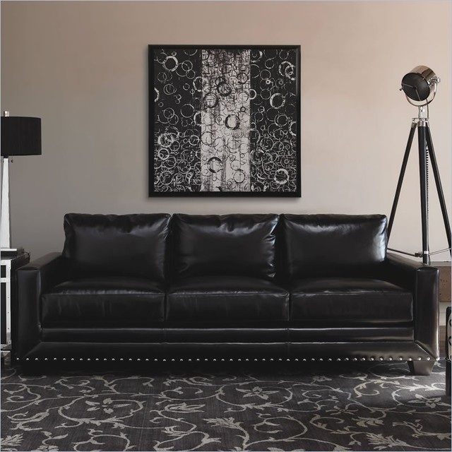 Nice Black Leather Sofa With Nailhead Trim Home Design Ideas And Pictures