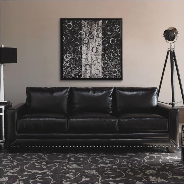 Black Leather Sofa With Nailhead Trim Home The Honoroak