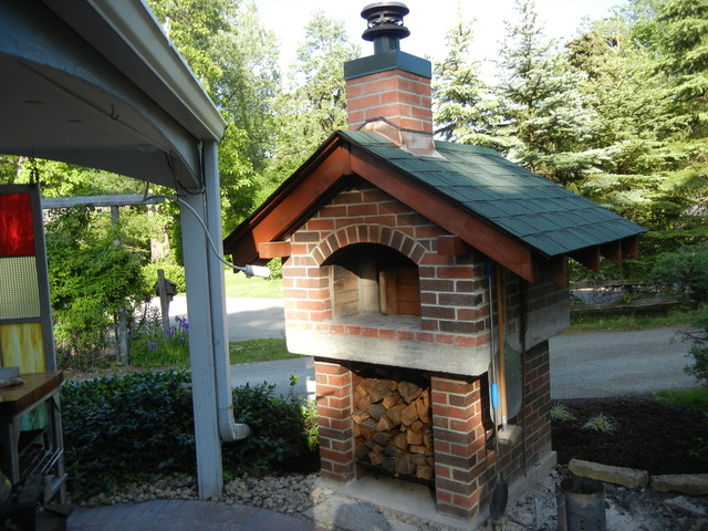 Outdoor Gable Roof Wood Fired Pizza Ovens - Traditional ... on Outdoor Patio With Pizza Oven id=40058