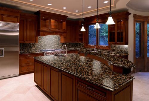 Baltic Brown Granite Dark Cabinets Backsplash Ideas on Black Granite Countertops With Brown Cabinets  id=56213