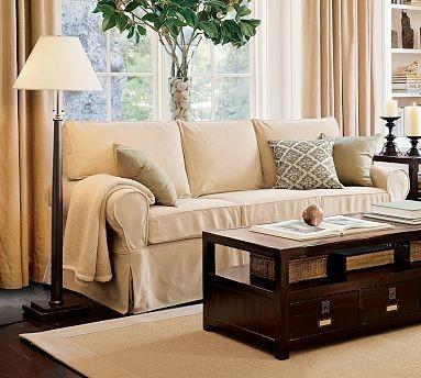 PB Basic Slipcovered Sleeper Sofa Slipcover Box Performance Canvas Driftwood Traditional