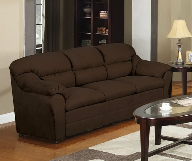 Chocolate microfiber sofa f7615 poundex chocolate for Chocolate brown microfiber sectional sofa