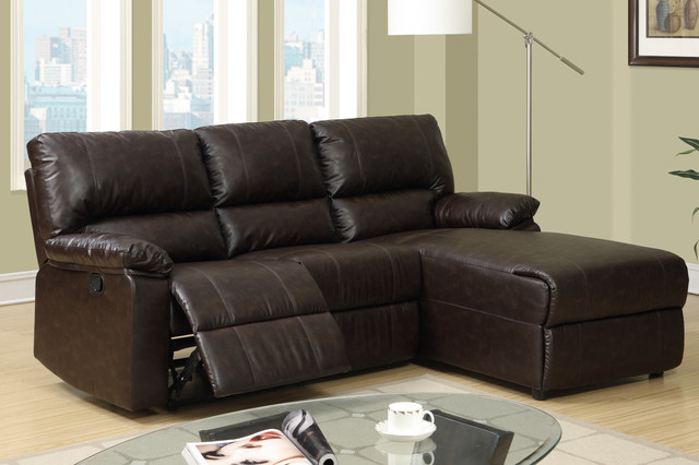 Small Coffee Leather Reclining Sectional Sofa Recliner Right Chaise modern sectional sofas los angeles