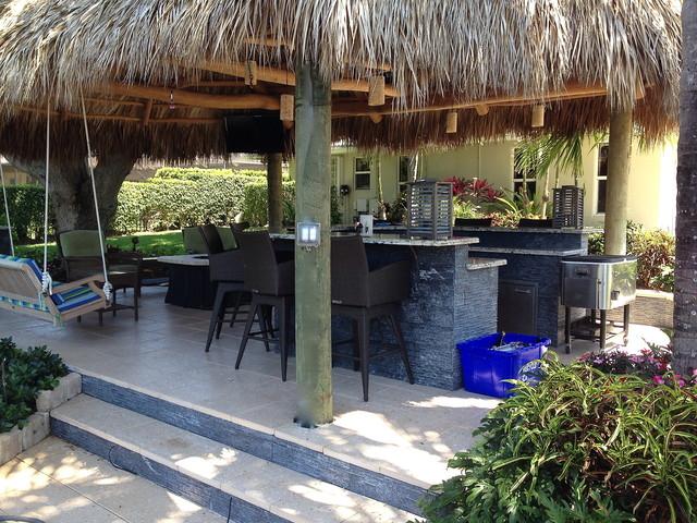 Tiki Hut, Outdoor Kitchen and Landscaping - Tropical ... on Backyard Tiki Hut Designs id=89100