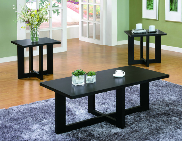 Black Veneer Coffee Table and End Tables 3 piece Set contemporary coffee table sets
