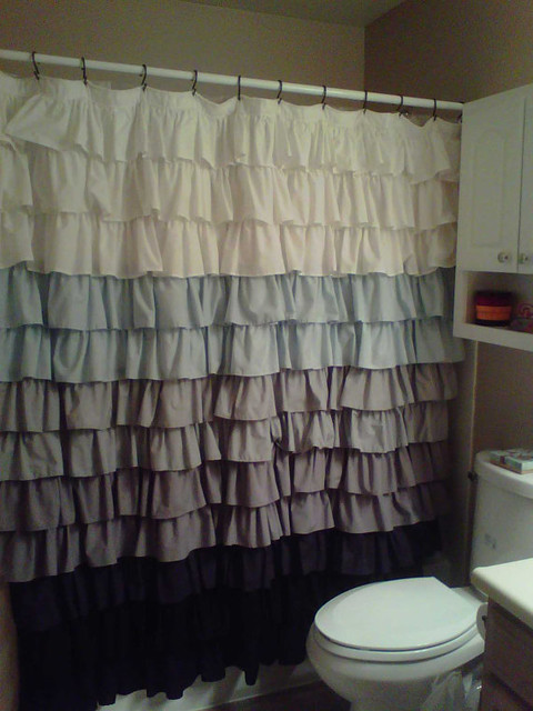 Gray Ombre Ruffle Shower Curtain Curtain Menzilperde Net
