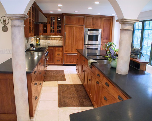Dark Oak Cabinets With Black Hardware