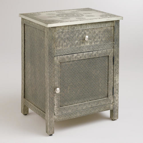embossed metal nightstand kiran embossed metal cabinet accent chests and cabinets 983