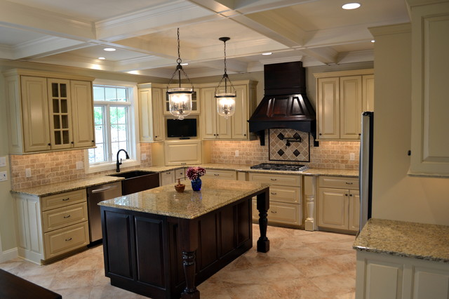 hanging kitchen cabinets distressed ivory kitchen accented by walnut island amp range 1560