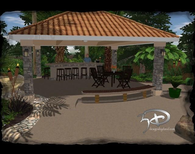 Tropical cabana / outdoor living - Tropical - Rendering ... on Tropical Outdoor Living id=25389