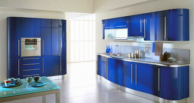 Blue Lacquer Kitchen Cabinets Erfly By Fiamberti Modern