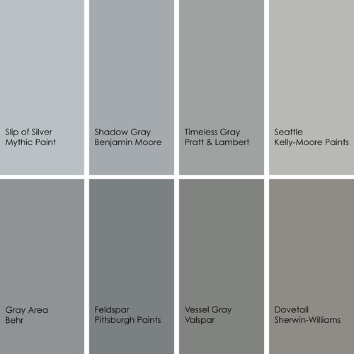 Gray Paint Picks For Bathrooms Clockwise From Top Left 1 Slip Of Silver 139 3 Mythic 2 Shadow 2125 40 Benjamin Moore
