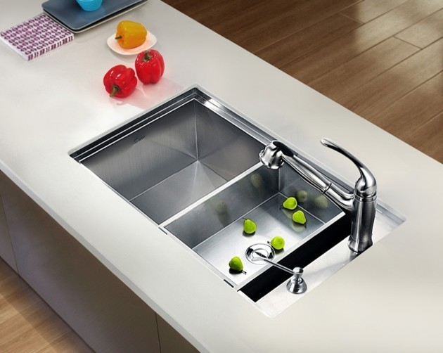 square sink kitchen undermount square single bowl sink with side drain 2449