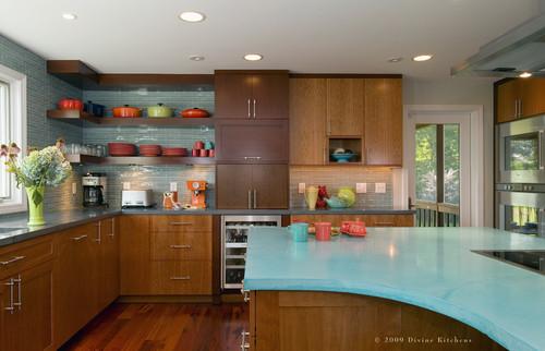 aqua concrete kitchen countertops