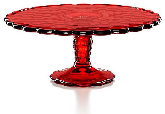 ideas for home gym in garage - Martha Stewart Collection Serveware Red Optic Glass Cake
