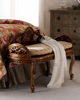 traditional bedroom benches carved bench traditional upholstered benches by horchow 13560