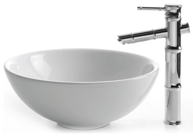 round bathroom sinks kraus c kcv 141 1300 white ceramic sink and bamboo 14257