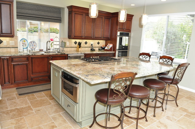 kitchen island with cooktop and seating dynasty cherry wood nutmeg onyx 27105