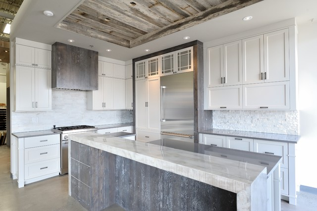 Rustic Chic Grey and White Kitchen - Rustic - montreal ...