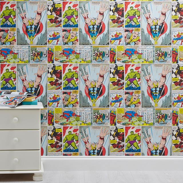 Marvel Comic Hero's Kids Wallpaper - Contemporary - Kids ...