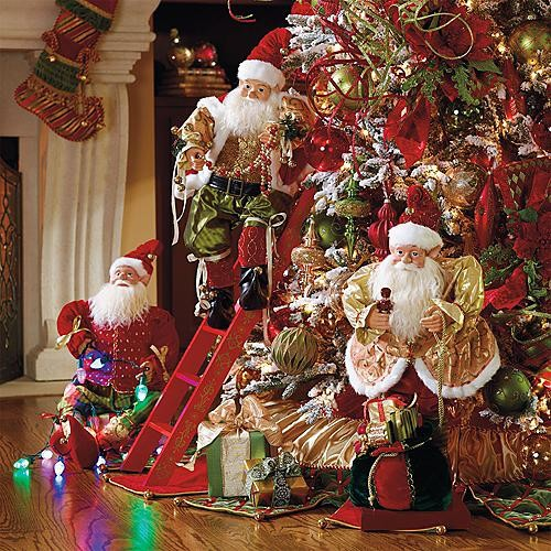 Set of 3 Animated Decorating Elves - Christmas Decorations ...