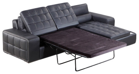 Modern Black Leather Sectional with Pull Out Sofa Bed Contemporary Sectional Sofas by LA