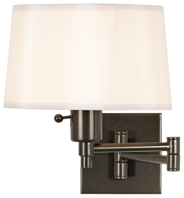 Contemporary Real Simple Bronze Plug In Swing Arm Wall Lamp
